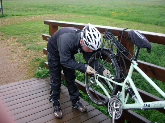 Beim Einbau auf geraden Sitz des Rades Achten - Nicht vergessen, die Bremse muss wieder eingehangen werden!