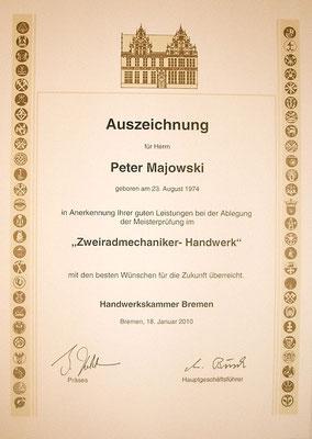 Zweiradmechanikermeister Auszeichnung