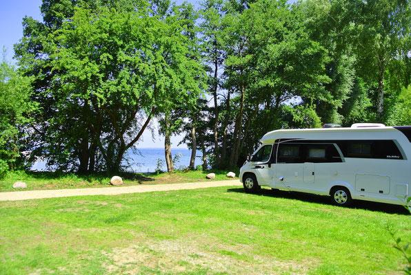 Die neuen S-Plätze 20-27 direkt am Ufer mit Blick auf die Marina © Naturcamping Zwei Seen am Plauer See/MV - www.zweiseen.de