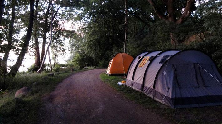 Ideal für längliche Zelte oder einen Bully: die Plätze 118 und 119 direkt am See vor der breiten Uferwiese © Naturcamping Zwei Seen am Plauer See/MV - www.zweiseen.de