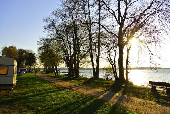 Die 230er-Plätze Anfang April: zu jeder Jahreszeit ein einfach atemberaubender Seeblick (und ggf. auf das eigene Boot in der Marina)