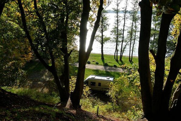 Blick von der Waldterrasse nach unten auf den 60er Bereich © Naturcamping Zwei Seen am Plauer See/MV - www.zweiseen.de