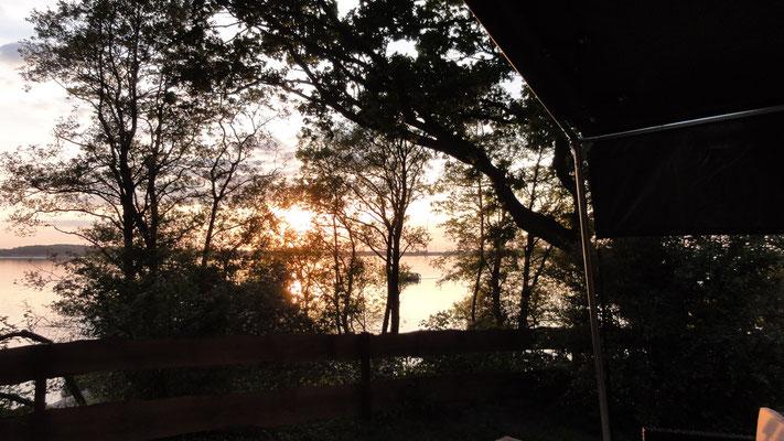 Blick von der Safarizelt-Terrasse © Naturcamping Zwei Seen am Plauer See/MV