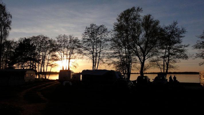 Logenplätze am See und für Sonnenuntergänge in der 1. Reihe (im Bild: 232 bis 234) © Naturcamping Zwei Seen am Plauer See/MV - www.zweiseen.de