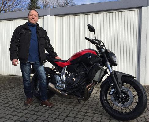 03.03.2015: Uwe Gretzschel aus Weil am Rhein mit seiner neuen YAMAHA MT-07