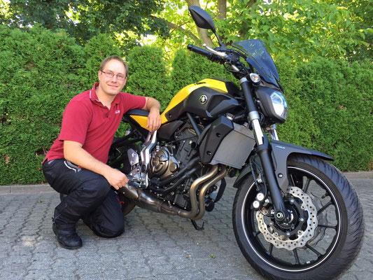 20.07.2015: Hannes Krebs aus Efringen-Kirchen mit seiner neuen YAMAHA MT-07 ABS
