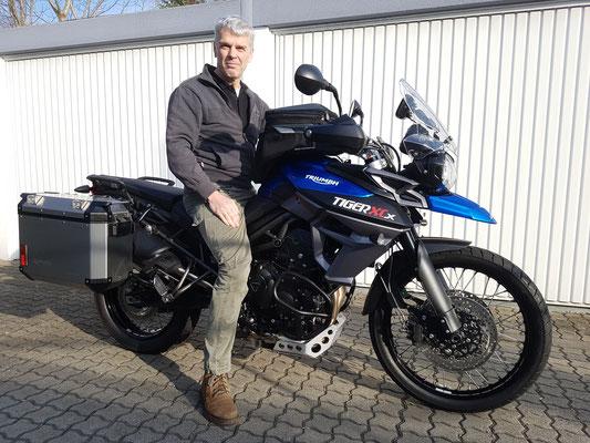 15.03.17: Clemens Moser aus Grenzach-Wyhlen mit seiner neuen TRIUMPH Tiger 800 XCx