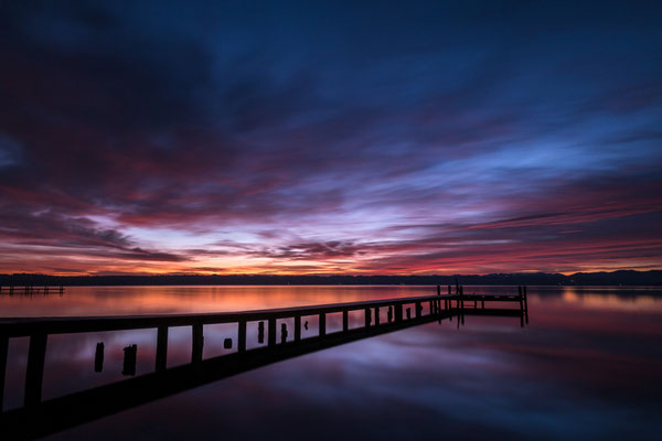 Burning sunrise at lake Starnberg