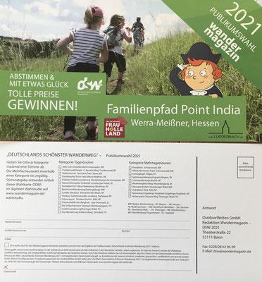 Wir haben Wahlkarten für die Wahl zu Deutschlands schönster Wanderweg 2021 anfertigen lassen. Bitte ausfüllen und einfach bei der Gemeindeverwaltung in Ringgau-Netra in den Briefkasten geben oder frankieren und abschicken.