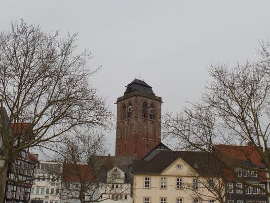 Der Turm der Stadtkirche ist 58,20 Meter hoch