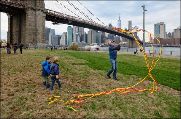 Il Brooklyn Bridge e il prato dell'Empire Fulton Ferry Park - © Massimo Vespignani