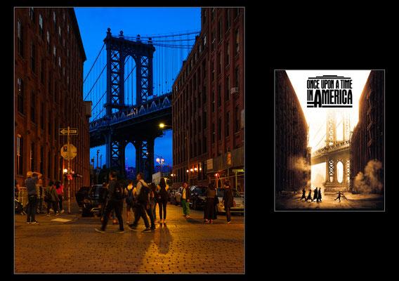 """New York City: l'iconico scorcio di Washington Street a Brooklyn, con gli edifici in mattoni che fanno da cornice al Manhattan Bridge, un cult reso celebre dal film """"Cera una volta in America"""" di Sergio Leone - © Massimo Vespignani"""