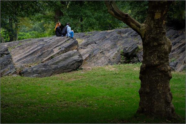 New York City: uno dei tanti giganteschi massi erratici di origine glaciale che affiorano dal terreno a Central Park. Molti furono lasciati in loco per motivi ornamentali, altri furono rimossi con un massiccio ricorso alla dinamite - © Massimo Vespignani