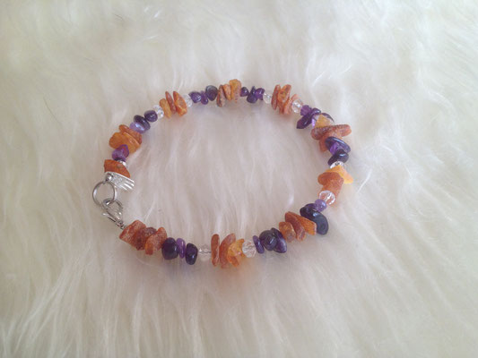 Bernstein mit Amethyst und Glasfacettperlen in transparent / crystal