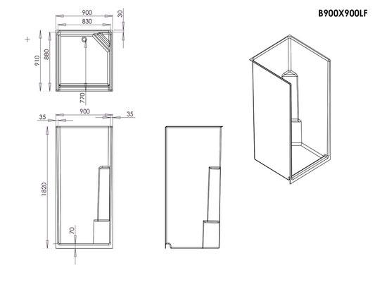Fibreglass Shower Enclosure 900x900mm - Low Front Specs