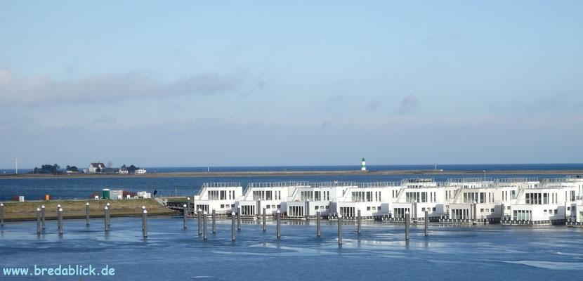 Panoramablick über schwimmende Häuser, Schlei, Schleimünde und Ostsee