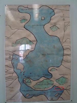 Círculo rojo para marcar a Tlapacoya en el antiguo Lago de Chalco