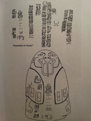 la famosa estatua de Tuxtla, con sus glifos epi-olmecas (ahora Smithonian Institution)