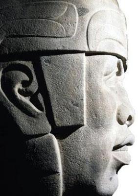Cabeza colosal olmeca en el Museo de Antropología Jalapa, Veracruz