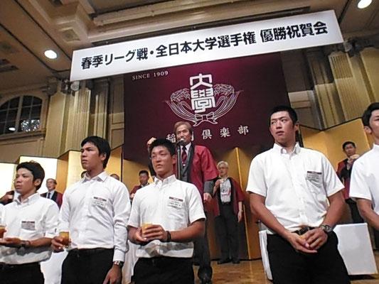 村岡功スポーツ科学学術院院長による乾杯
