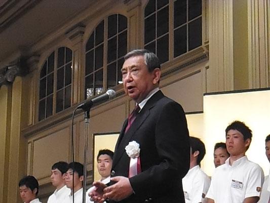 河野洋平稲門体育会会長からのご祝辞