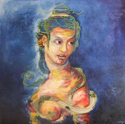 """""""Cléopâtre"""" - huile sur toile - 100x100 cm - Mathilde Bouvard - 2020"""