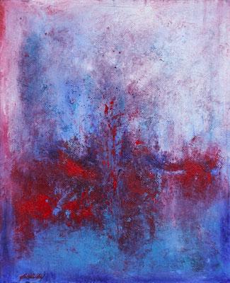 """"""" Plonger dans le coeur"""" - huile et pigments sur toile- 45 x 60 cms - Mathilde Bouvar - 2021"""