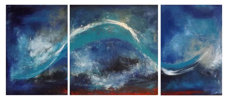 """""""La danse du serpent"""" - huile et pigments sur toiles - triptyque de 60 x 140 cms - Mathilde Bouvard - 2020"""