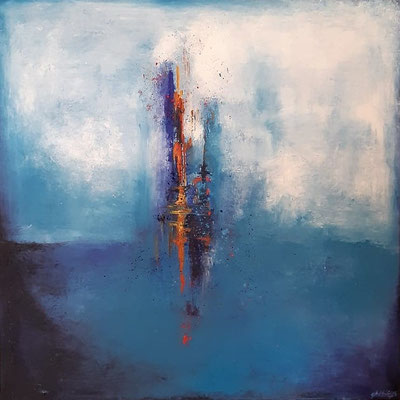 """Volcan"" - huile sur toile - 80x80 cm - Mathilde Bouvard - 2020"