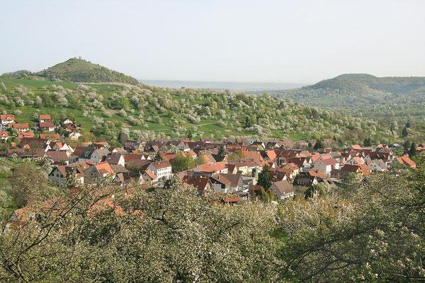 Blick auf Hepsisau; im Hintergrund die Limburg und der Aichelberg