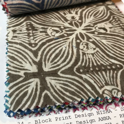 Block Print Fabric sample card can be ordered directly from Switzerland