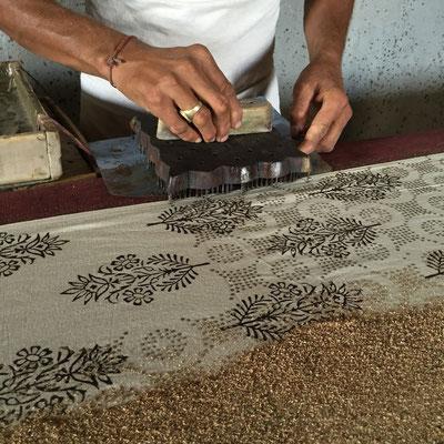 Bagru Indigo mud resist block printing Textile Tour India Rajasthan