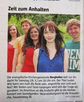 Der Artikel in den Ruhrnachrichten zu unserem Konzert am 28.03.2015