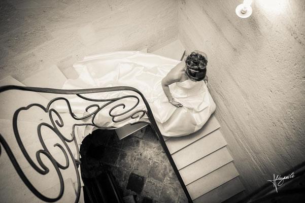 mariée escalier