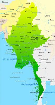 Karte von Myanmar (Burma/Birma)