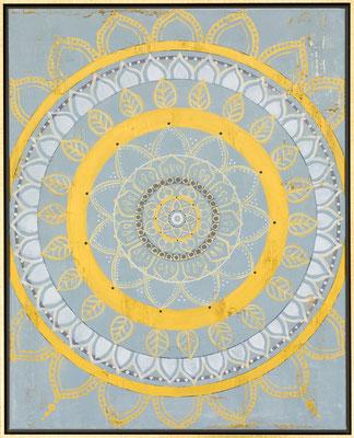 """Originalgemälde """"Clairvoyant"""" Acryl auf Künstlerleinwand und Keilrahmen. Format 80x100cm inkl. Schattenfugenrahmen Schwarz Goldglanz Antik"""
