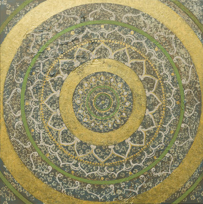 """Originalgemälde """"Solid Mandala"""", Acryl auf Künstlerleinwand und Keilrahmen. Format 120x120cm (Preis auf Anfrage)"""