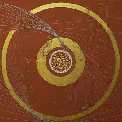"""Originalgemälde """"Om Aura"""", Acryl auf Künstlerleinwand und Keilrahmen. Format 120x120cm inkl. Schattenfugenrahmen Schwarz Goldglanz (Preis auf Anfrage)"""