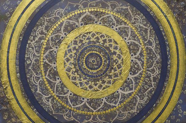 """Originalgemälde """"Mandala Royal"""" Acryl auf Künstlerleinwand und Keilrahmen. Format 80x120cm"""