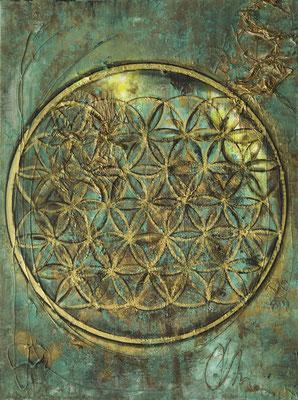 """Originalgemälde """"Flower of Life"""" Acryl auf Künstlerleinwand und Keilrahmen. Format 60x80cm inkl. Schattenfugenrahmen Schwarz Goldglanz Antik"""