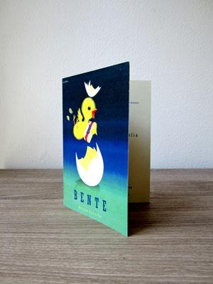 geboortjekaartje met vintage prent / new baby card with vintage print