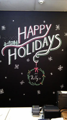 Kelly's - Den Haag / The Hague - kerst krijtbord illustraties / christmas chalkboard illustrations