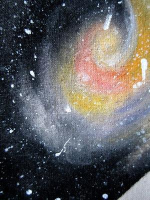 handgeschilderde ruimte, nevel, sterren / hand painted space, nebula, stars