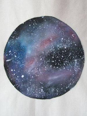 handgeschilderde ruimte, nevel, sterren / handpainted space, nebula, stars