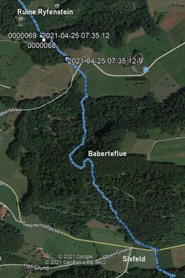 Kartenausschnitt für die erste Strecke vom Ryfenstein zum Sixfeld
