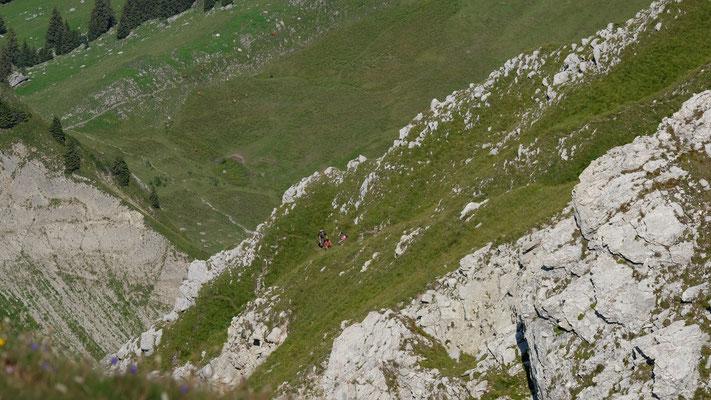 Steiler Abstieg über die NW Flanke der Pointe de Paray