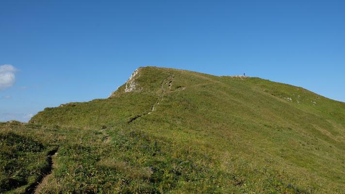 Der Gipfel des Gantrisch - ohne Gipfelkreuz, dafür mit Wanderer