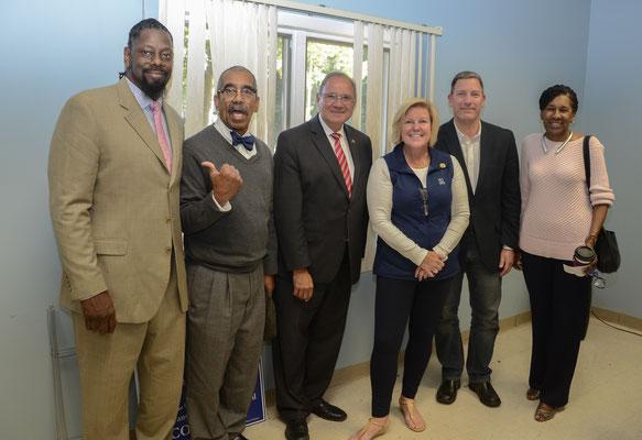 Anthony Carter, Al Sanchez, Freeholder Angel Estrada, Mayor Mahr, Russ Huegel and Wendy Oldham