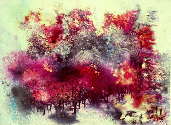 """""""LA FORËT IMAGINAIRE"""" 2016 Encre et aquarelle sur toile - 80cm x 60cm"""