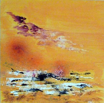 """""""COUCHER DE SOLEIL"""" 2013 Encre et acrylique sur toile - 70 x 70 cm"""